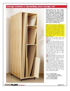 6 Persevering Tips: Woodworking Easy How To Build woodworking art thoughts.Woodworking Projects Design woodworking cabinets the family handyman. Sheet Storage, Art Storage, Storage Cart, Tall Cabinet Storage, Tool Storage, Storage Baskets, Woodworking Garage, Woodworking For Kids, Woodworking Furniture