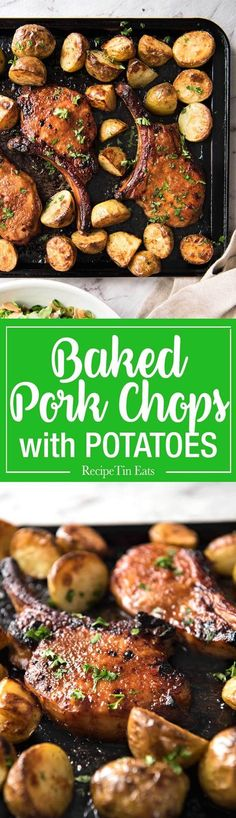 These oven baked pork chops are slathered in a tasty country-style rub then baked until sticky and golden. Pantry ingredients, finger lickin' good!