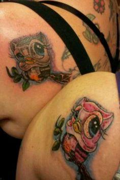 Matching owl tattoos Owl Tattoo Design, Tattoo Designs, Owl Tattoos, Wise Owl, How To Fall Asleep, Owls, Piercings, Tattoo Ideas, Skull