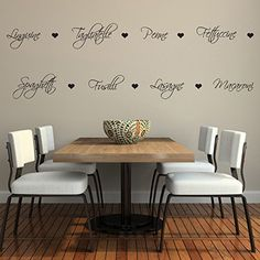 Pasta Words and Hearts Wall Sticker Pack - Pasta Kitchen Wall Sticker Set: Amazon.co.uk: Kitchen & Home