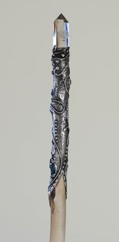 Silver solder Amethyst Crystal Cluster Deer antler magic wand by Walking Sticks And Canes, Wooden Walking Sticks, Crystal Cluster, Amethyst Crystal, Wizard Staff, Walking Staff, Shadowhunters, Harry Potter Wand, Book Of Shadows