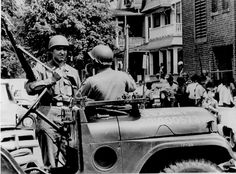 Ohio National Guard soldiers on duty in Cleveland following the Glenville shootout, July 1968.