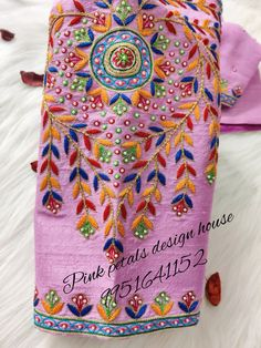 A very cute thread embroidered single sleeve worked blouse@ 9951641152 Pink Petals, Pink Design, House Design, Blouse, Sleeve, Manga, Rose Petals, Blouses, Architecture Illustrations