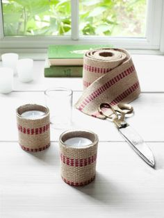 DIY Christmas Craft Ideas - - Country Living. Transform plain glass votive holders with upholstery webbing.