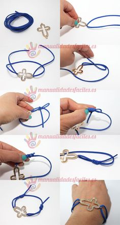 Bracelet with sliding knot Bracelet Crafts, Bracelet Knots, Jewelry Crafts, Handmade Jewelry, Beaded Bracelets, Ankle Bracelets, Paracord Bracelet Instructions, Bracelet Tutorial, Jewelry Knots