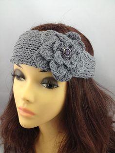 Grey Crochet Headband w/ Side Flower