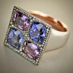 taffinjewelryCeylon sapphire , diamond, platinum and rose gold ring.
