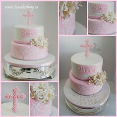 Another one of the many Communion cakes I had in April. I was honoured to make another one for a friend of mine as her daughter Bianca received her First Holy Communion. It was so nice to see my son and his friends celebrate together. Bautizo Cakes, Baby Girl Christening Cake, Comunion Cakes, Damask Cake, First Holy Communion Cake, Pink Cake Box, Religious Cakes, Confirmation Cakes, Beautiful Wedding Cakes
