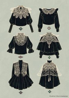 Gothic dark Edwardian clothes black lace white monochrome art reference fashion outfit shirt blouse top Source by fashion illustration Vintage Fashion Sketches, Fashion Design Drawings, Anime Outfits, Mode Outfits, Skinny Jeans Damen, Fashion Infographic, Kleidung Design, Mode Editorials, Mode Vintage