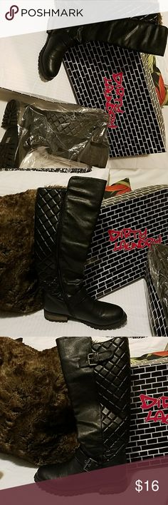 Dirty Laundry Tufted Vegan Leather Boots Gorfeous tufted design along the entire back and side calf of the boots.  Vegan Leather Black boot and Black with Sandy distressed tan color heel. I will ship it with Original shoebox encased in a protective shipping box. Dirty Laundry Shoes