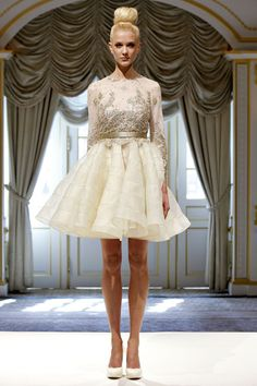 Lace long sleeves and short. Dennis Basso Spring 2013.