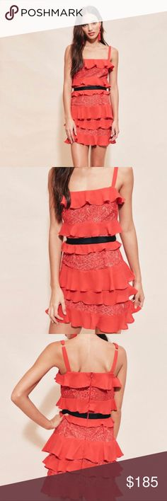 """• For Love & Lemons • Chianti Red Hot Mini Dress L - For Love & Lemons Dress - Chianti Mini Ruffle Dress - Red Hot  - Large  - Silk Blend  - Length 35"""" - New with Tags For Love And Lemons Dresses Mini"""