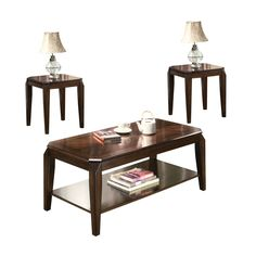 Acme Furniture Docila Walnut 3-piece Coffee and End Table Set