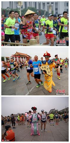 """Run! 30,000 run for charity in the 2016 Beijing Marathon  Around 30,000 participants ran 42 kilometers through the Chinese capital at the 36th annual Beijing Marathon on Saturday. The organizers changed the route of the race this year, with the start remaining in the landmark Tian'anmen Square and the finish outside the """"Bird's Nest"""" stadium, which hosted the 2008 Olympic Games and 2015 IAAF World Championships."""
