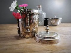 Vintage Silver Canister Small Beautiful Container by harbor17