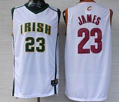 009b59b39 Cleveland Cavaliers The Fighting Irish  23 LeBron James Revolution 30  Swingman White Jersey