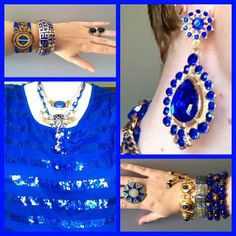 My kmart blue sequin top again with gold jewels. Jewel Divas bracelet stacks