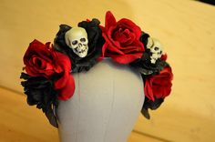 Skull and Rose Day of the Dead Crown  Skeleton by HikariDesign, $45.00