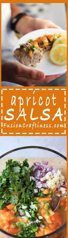 A fruity salsa perfect for chicken or fish! | FusionCraftiness.com | salsa, apricot, tacos, chips, burritos