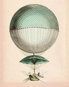 Vintage Hot Air Balloon 8X10 Vaisseau Volant Art Print Digital Original Illustration Poster Mixed Media Drawing Digital Print Wall Decor