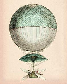 Vintage Hot Air Balloon 8X10 Vaisseau Volant Art Print Digital Original Illustration Poster Mixed Media Drawing Digital Print Wall Decor