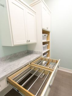 Turn drawers into drying racks with bars. This would be a dream laundry room! Turn drawers into drying racks with bars. This would be a dream laundry room! Room Design, House, Laundry Mud Room, Home, Custom Homes, New Homes, Dream Laundry Room, House Interior, Laundry Room Drying Rack