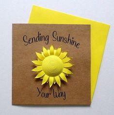 Sunshine Card - Sunny Card - Thinking of You - Sending Sunshine - Missing You Card Birthday Card Messages, Birthday Cards, Miss You Cards, Sending Hugs, Pink Cards, Unique Cards, Xmas Presents, Art Uk, Beautiful Artwork