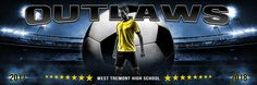 Panoramic Sports Team Banner Photo Template - All Star Soccer - Layered Photoshop Sports Template