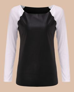 Blusas Spring Women Personality Shirts Long Sleeve PU Leather Patchwork Blouses Fashion Casual Loose Tops Plus Size S-XL