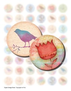 1 inch vintage bottle caps circles Colorful Flower by InkFive