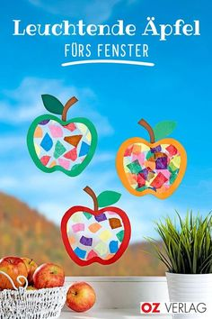 Perfekte Herbstdeko: Leuchte Äpfel fürs Fenster Apples made of transparent paper for the window. Cute Diy Crafts, Kids Crafts, New Crafts, Diy Craft Projects, Fall Crafts, Paper Crafts, Maila, Kids And Parenting, Diy For Kids