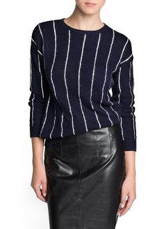 Pinstripe wool cotton-blend sweater