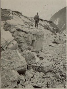 WW1, 17 August 1916; Ruined Austrian fortifications in the Alps, on the Italian…
