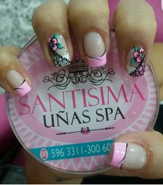 Decoración uñas con flores Love Nails, Pink Nails, Pretty Nails, Pedicure Nail Designs, Pedicure Nails, Cute Nail Art, Easy Nail Art, Pretty Nail Designs, Nail Art Designs