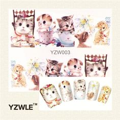 YZWLE 1 Sheet Cute Cat Nail Art Water Decals Transfer Stickers, Manicure Decor Tool Cover Nail Wrap Decal(YZW-003)