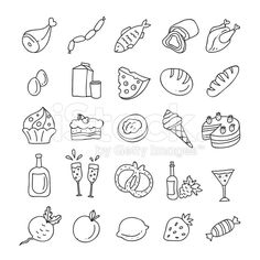 Hand drawn food and drink icons outline: vegetables, fruit, meat ...
