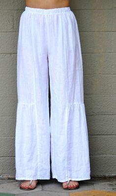 ET'LOIS USA Linen BECCA PANT Long Wide-Leg Shirred Detail S M L XL GRAPHITE