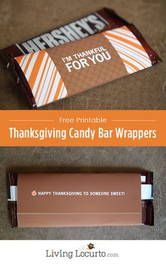 Free Printable Thanksgiving Candy Bar Wrapper. Cute DIY gift for friends, family and teachers. LivingLocurto.com