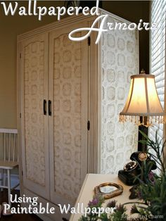 DIY: Great step by step textured wallpaper furniture tutorial.