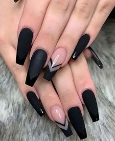 In seek out some nail designs and ideas for your nails? Here's our set of must-try coffin acrylic nails for trendy women. Black Acrylic Nails, Black Coffin Nails, Best Acrylic Nails, Black Nail Art, Best Nail Art, Black Nail Tips, Black Marble Nails, Acrylic Art, Matte Nails