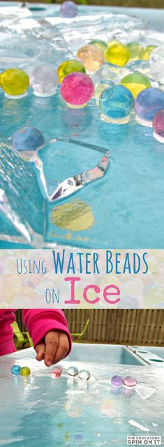 Wesley Summer Water Beads on Ice; Explore Winter with this Water Beads and Ice Activity for kids. A Fun Winter Science experiment! Sensory Activities, Sensory Play, Preschool Activities, Sensory Bins, Sensory Table, Sensory Rooms, Library Activities, Preschool Curriculum, Outdoor Activities