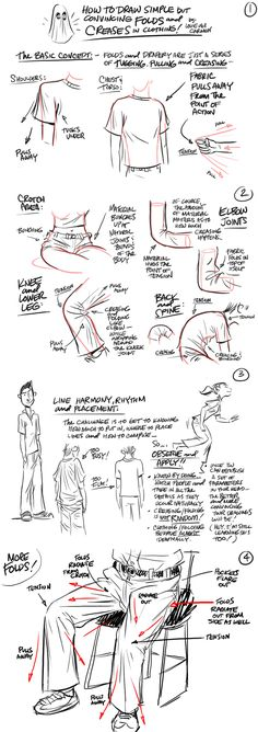 How to Draw - Tutorial: Clothes and Folds for Comic / Manga Panel Design Referen. - - How to Draw – Tutorial: Clothes and Folds for Comic / Manga Panel Design Reference Source by dannyboygrimm Drawing Skills, Drawing Lessons, Drawing Techniques, Drawing Tips, Drawing Ideas, Sketch Drawing, Drawing Stuff, Anatomy Reference, Drawing Reference