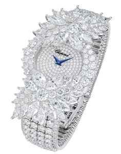 Haute Joaillerie watch in 18ct white gold set with round diamonds (20.56 cts) and marquise-cut diamonds (11.02 cts).
