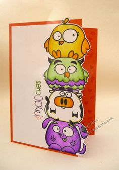 InvisiblePinkCards: A pile of smooches. Paper Smooches Chubby Chums coloured with Copics. Scrapbook Cards, Scrapbooking, Best Friend Birthday Cards, Monster Cards, Card Drawing, Paper Smooches, Kids Cards, Baby Cards, Animal Cards