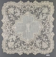Handkerchief, French, 1875-89, linen, needle lace