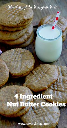 4 Ingredient Nut Butter Cookies - savorylotus.com #grainfree #glutenfree #cookies