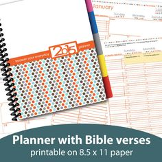 """Are you looking for a planner that will enhance your spiritual and personal life? This """"treasure your everyday"""" monthly and weekly printable planner is filled with inspirational Bibles verses. A 1-year chronological Bible reading plan is also integrated on each day. Designed on an aesthetically-pleasing and functional layout, this planner offers you a perfect place to thoughtfully organize your 2015 with Bible-based guidance as well as prayers & personal thoughts."""