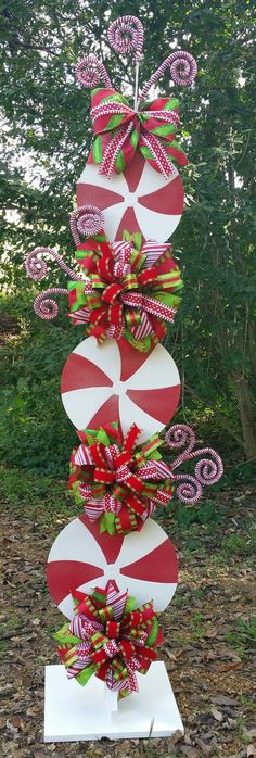 Peppermint Stand Tutorial, Candy Cane Tutorial, Decor Tutorial, DIY Christmas Tutorial, Christmas Decorations - All For Garden Candy Land Christmas, Christmas Holidays, Christmas Wreaths, Christmas Ornaments, Whoville Christmas Decorations, Peppermint Christmas Decorations, Christmas Movies, Christmas Parties, Primitive Christmas