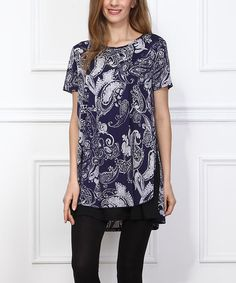 Another great find on #zulily! Navy Paisley Ruffle-Hem Tunic #zulilyfinds