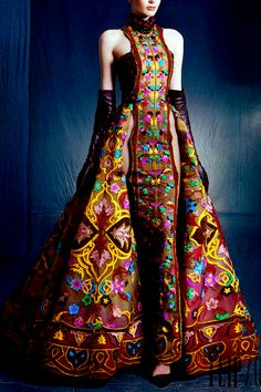 3/2016 using ethnic textile craftsmanship in couture clothing:  NICOLAS JEBRAN Couture Fall/Winter 2016